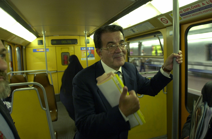 Romano Prodi, President of the EC, in the Brussels metro