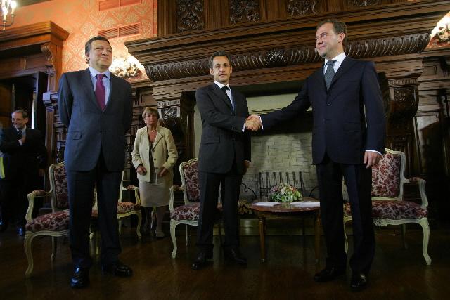 Viste de José Manuel Barroso, président de la CE, Javier Solana et Nicolas Sarkozy en Russie et en Géorgie