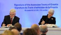 Signing ceremony of the Accession Treaty of Croatia to the EU, so as other agreements