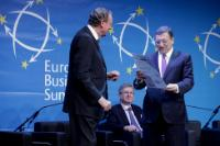 Jürgen Thumann, President of BusinessEurope, Stephen Fidler, Editor of...