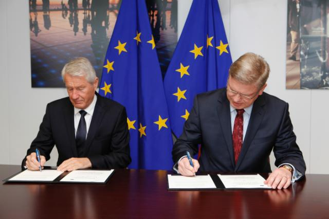 Signature of a cooperation agreement between the EC and Council of Europe on human rights, democracy and rule of law, by Thorbjørn Jagland, Secretary General of the Council of Europe, and Štefan Füle, Member of the EC