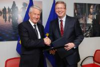 "Illustration of ""Signature of a cooperation agreement between the EC and Council of Europe on human rights, democracy and..."