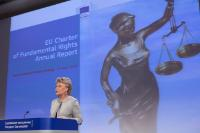"Illustration of ""Press conference by Viviane Reding, Vice-President of the EC, on the annual reports 2013 on the..."