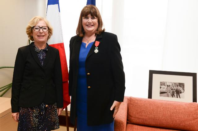Presentation of the Legion d'honneur to Máire Geoghegan-Quinn, Member of the EC, by the French government
