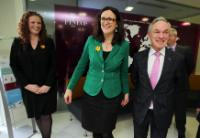 (L-to-R) Joanne McMullen, Chief People Officer, Cécilia Malmstrom, et Minister Bruton at FINEOS House, Eastpoint Business Park