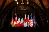 The national emblems of the 7 countries Members of the G7, with the European emblem