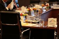 The seat of Federica Mogherini, with a leaflet of the meeting of Ministers for Foreign Affairs of the G7 in Lübeck on the table
