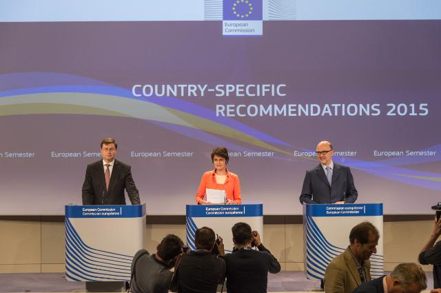 Joint press conference by Valdis Dombrovskis, Vice-President of the EC, Marianne Thyssen and Pierre Mosovici, Members of the EC, on Country-specific recommendations 2015