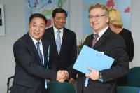 "Illustration of ""Signature ceremony of the five Memorandum of Understanding between the pilot regions for cooperation..."