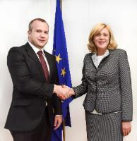 Visite de Dan Nica, membre du PE, Ionuț Pucheanu, maire de Galați, et Sorin Enache, maire adjoint de Galați, à la CE