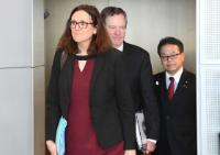 Trilateral meeting betweeen Cecilia Malmström, Member of the EC in charge of Trade, Hiroshige Seko, Japanese Minister for Economy, Trade and Industry and Robert Lighthizer, US Trade Representative