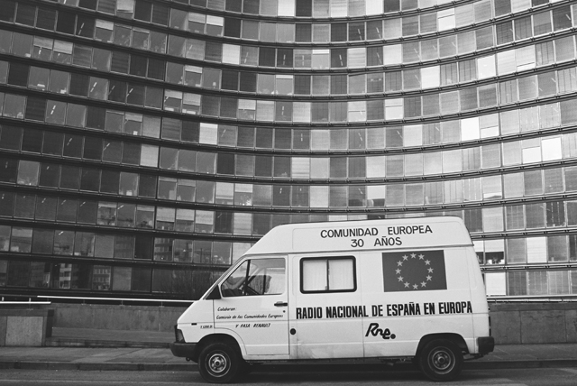 View of a van of the Spanish national radio in Europe in front of the Berlaymont building