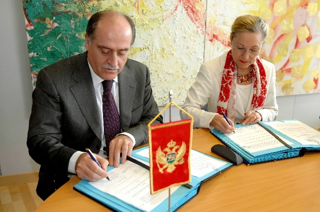 Signature of an agreement establishing an EU delegation in Montenegro