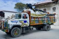 Truck transporting food to the camps for the disaster victims in Port-au-Prince