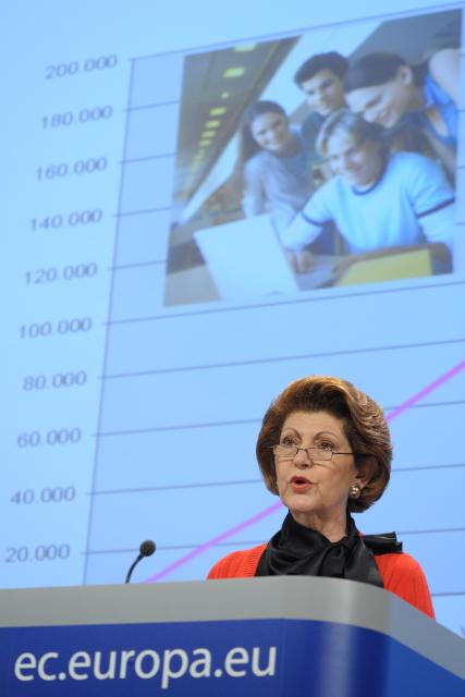 Press conference by Androulla Vassiliou, Member of the EC, on the statistics of the Erasmus programme