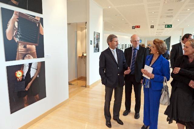 Participation d'Androulla Vassiliou et Johannes Hahn, membres de la CE, au vernissage de l'exposition d'art In Between. Austria Contemporary