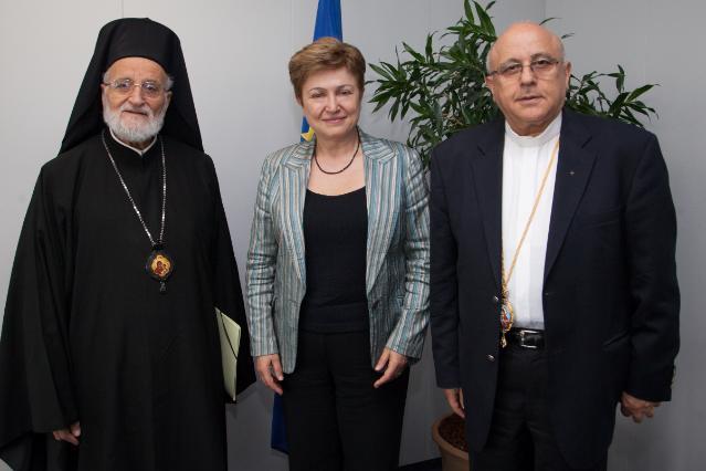 Visite de Grégoire III, patriarche d'Antioche et de tout l'Orient, d'Alexandrie et de Jérusalem et chef spirituel de l'Église grecque-melkite catholique, à la CE