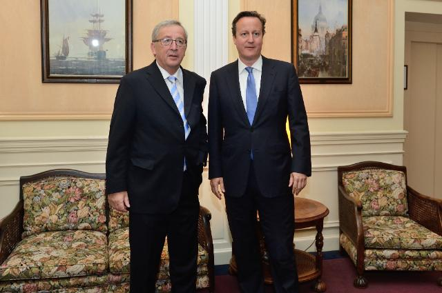 Meeting between David Cameron, British Prime Minister, and Jean-Claude Juncker, President-elect of the EC