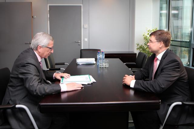 Meeting between Valdis Dombrovskis, Member of the EP, and Jean-Claude Juncker, President-elect of the EC