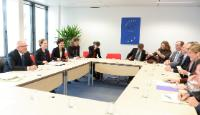 General view of the meeting, on the right: Samantha Power, 1st from the right, on the left: Neven Mimica, 1st from the left, and Irena Andrassy, his Deputy Head of cabinet, 2nd from the left