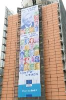 The Berlaymont with the  banner: