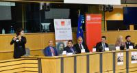 "Illustration of ""Participation of Corina Creţu, Member of the EC, at the event 'From Beggar to MEP.  Damian Drăghici: a..."