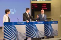 Conférence de presse conjointe de Valdis Dombrovskis, vice-président de la CE, Marianne Thyssen et Pierre Moscovici, membres de la CE, sur les conclusions de la réunion hebdomadaire de la Commission Juncker