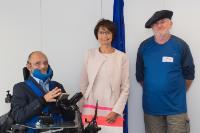 Visite d'Alain Guézou, président de RSA 38 et initiateur de 'La marche du Don Quichotte au béret', à la CE