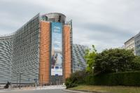 Banner at the EC Berlaymont's frontage to mark the end of roaming surcharges in the EU