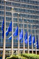 European flags fly at half-mast in solidarity with the victims of the forest fires in Portugal