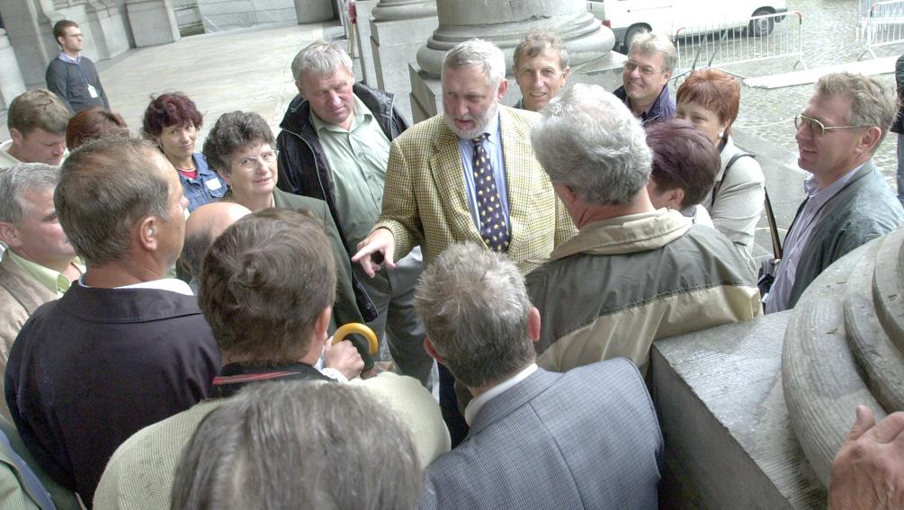 Visite informelle d'un groupe d'agriculteurs autrichiens à Franz Fischler, membre de la CE