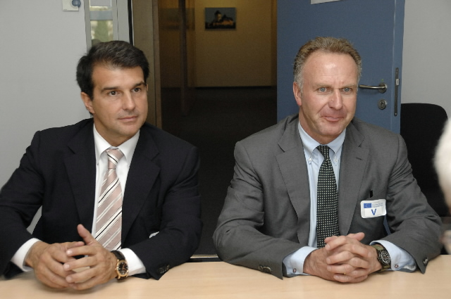 Visit of Karl-Heinz Rummenigge, Chairman of ECA and of FC Bayern Munich, and Joan Laporta, Vice-Chairman of the ECA and President of FC Barcelona, to the EC