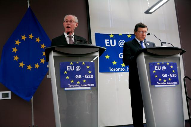 Joint press conference of José Manuel Barroso and Herman van Rompuy before and after the G8 Summit