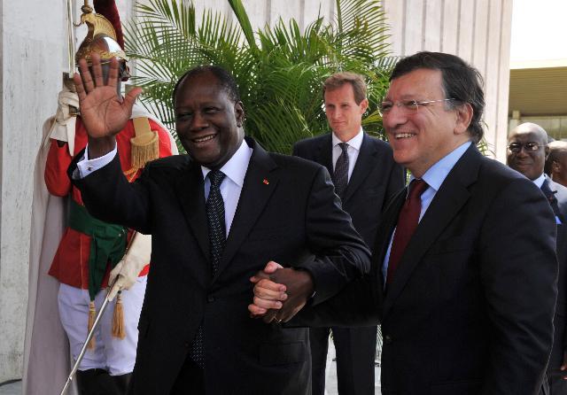 Visite de José Manuel Barroso, président de la CE, en Côte d'Ivoire
