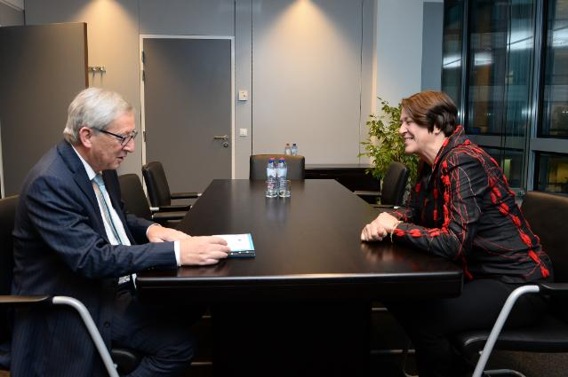 Meeting between Violeta Bulc, Slovenian Deputy Prime Minister; Minister without Portfolio responsible for Development, Strategic Projects and Cohesion, and Jean-Claude Juncker, President-elect of the EC