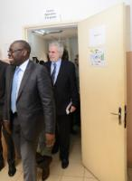 Arrival of Ibrahima Socé Fall, World Health Organization (WHO) country Representative in Mali and Head of the United Nations Mission for Ebola Emergency Response (UNMEER) in Mali, on the left, followed by Christos Stylianides