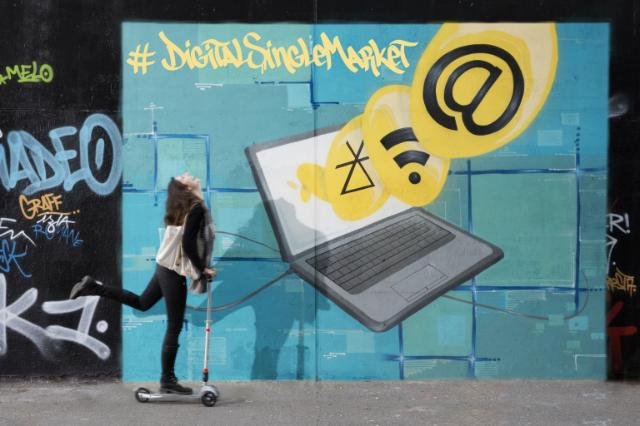 """#DigitalSingleMarket: A graffiti illustrating the second priority of the Juncker' Commission: """"A connected digital single market"""""""
