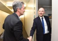 """Illustration of """"Visit of Hugues Bayet, Member of the EP, to the EC"""""""