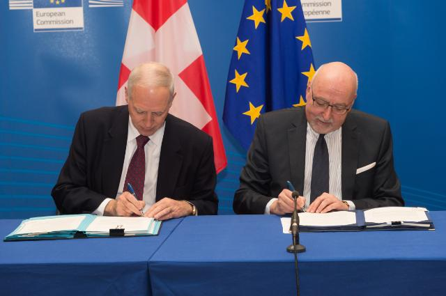 Initialling ceremony on the landmark tax transparency agreement between the EU and Switzerland