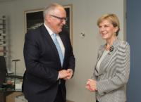 Julie Bishop, on the right, and Frans Timmermans