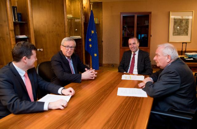 Jean-Claude Juncker, President of the EC, receives Mr Joseph Daul, President of the European People's Party (EPP) and Mr Manfred Weber, Chairman of the EPP Group in the European Parliament