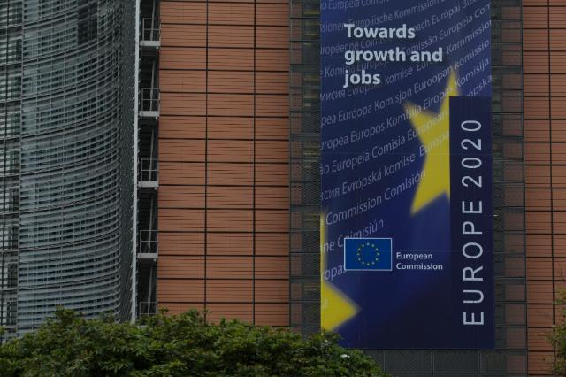 The Berlaymont building with: Europe 2020, towards groth and jobs banner