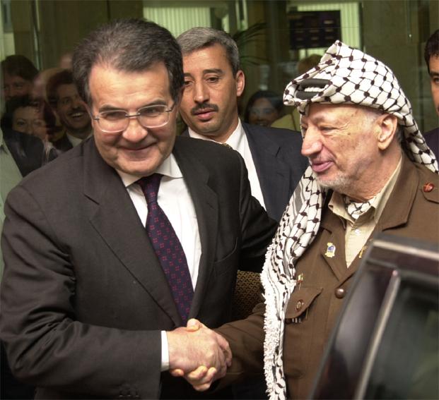 Visite de Yasser Arafat, président de l'Autorité palestinienne à la CE