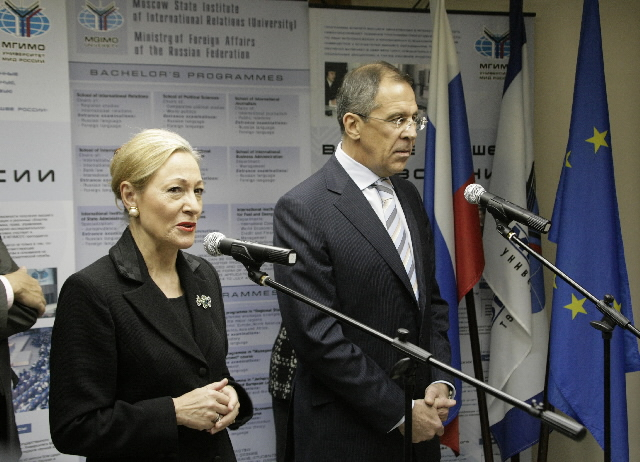 Benita Ferrero-Waldner, Member of the EC, at the opening of the European Studies Institute in Moscow