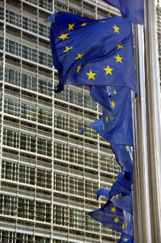 European flags in front of the Berlaymont building, headquarter of the EC