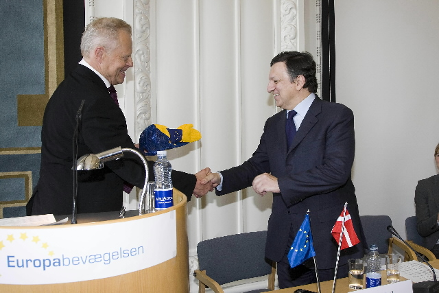Award of the European of the Year prize from the Danish European Movement to José Manuel Barroso, President of the EC
