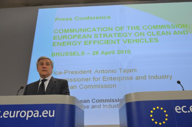 Press conference by Antonio Tajani, Vice-President of the EC, on clean and energy efficient vehicles