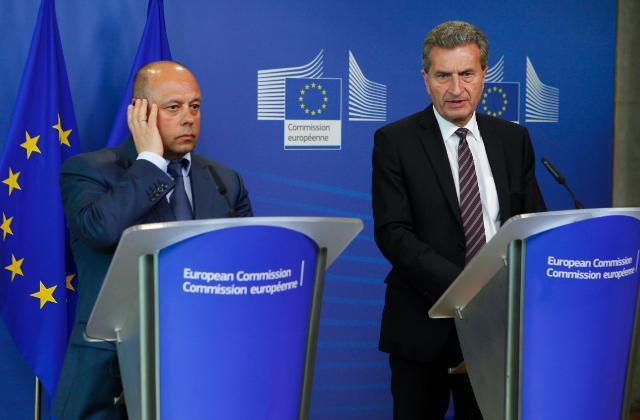 Conférence de presse conjointe de Günther Oettinger, membre de la CE, et et Iouri Prodan, ministre ukrainien de l'Energie et de l'Industrie houillère, suite à leur réunion bilatérale