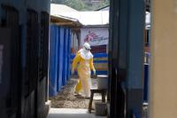 Health workers in an Ebola treatment center run by Médecins Sans Frontières.