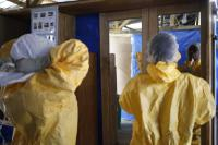 Health workers are seen in an Ebola treatment center run by Médecins Sans Frontières.